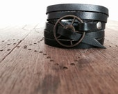 FREE SHIPPING - Leather Wrap Bracelet in Black leather with Antiqued Brass buckle