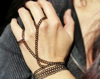 Hand wrap, Slave Bracelet, Chain Hand Wrap Most Excellent Gunmetal Jewelry