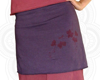 Organic cotton and Hemp Skirt  with Orchid print - Custom made for you  great for layering
