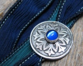 Sapphire Snowflake silk wrap bracelet  ... antiqued recycled fine silver snowflake medallion with cobalt glass