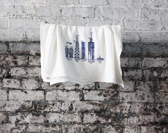 Chicago buildings diagram tea towel - white cotton floursack kitchen towel