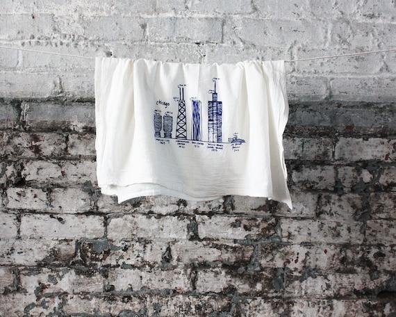 Chicago buildings diagram tea towel - white cotton floursack kitchen towel