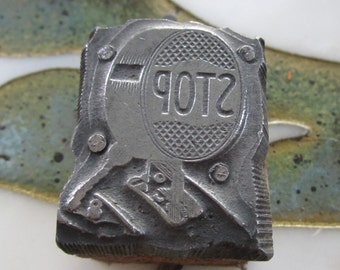 Stop Tail Light Vintage Letterpress Printing block