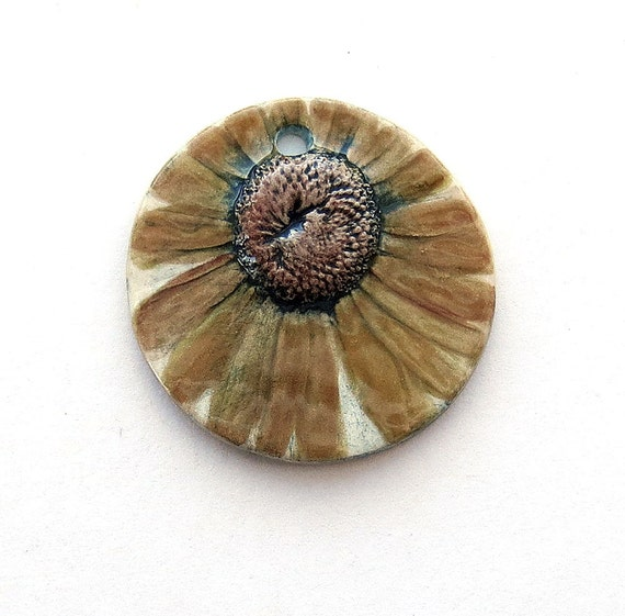 Ceramic Pendant Daisy in late fall yellow browns by Mary Harding