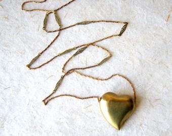 Brass Heart Necklace - Heart Necklace - vintage brass heart and chain necklace - Heart Jewelry - boho chic