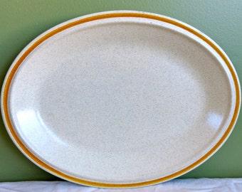 Vintage Hearthside Garden Festival Stoneware Platter-Cream and Gold-Hand Painted-Japan