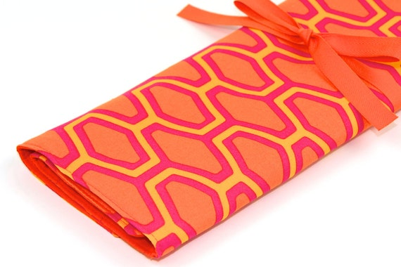 Large Knitting Needle Case - Orange Crush - 30 pockets for straights, circulars, dpns and notions