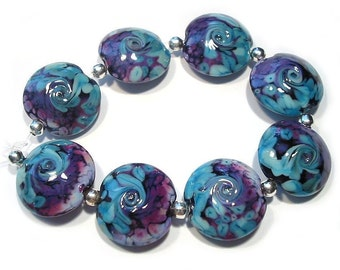 Turkish Delight Glass Lentils, Handmade SRA Glass Lampwork Beads