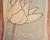 NAMASTE Lotus on Blue Blank Greeting Card