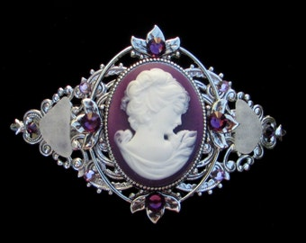 Cameo Barrette Purple and White Profile with Beach Glass and Crystal Accents