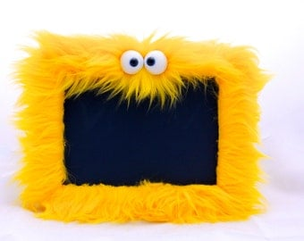 Furry Monster Chalk board in Bright Yellow