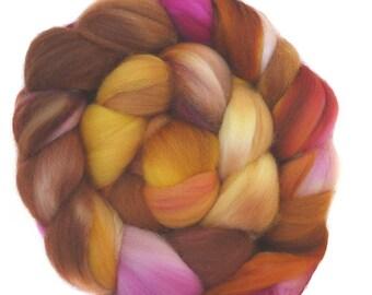 FAUX CASHMERE SUPERWASH MERINo roving top handdyed wool spinning fiber 3.8 oz