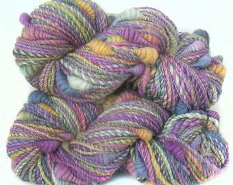 Art Yarn handspun handdyed Merino wool with coils
