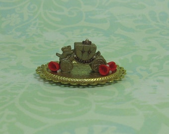 Dollhouse Miniature Tray with Fairytale Coach & Flowers