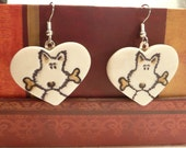 Cute Dog Earrings, Heart or Rectangle, Pet Earrings, Dog Lover Jewelry, whimsical handmade polymer clay