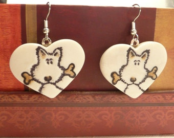 Cute Dog Earrings, Valentine's Day Heart Jewelry, Pet Lover Gift, Heart Earrings, Dog Jewelry, Puppy Earrings, handmade polymer clay