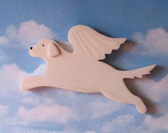 White English Golden Retriever Angel Dog Rustic Wood Decoration