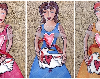 Lovebird fairies paper doll download pattern