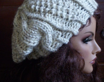 Wheat Cable Hat, Large Tweed Beret, Light Slouch Tam Beanie