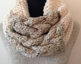 Knitted Cable Cowl, Ivory and Oatmeal Grande Cowl Chunky Wrap, Shawl