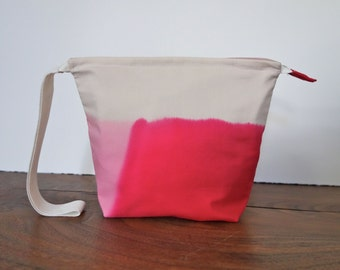 """Hand Dripped Dyed 9"""" Zipper Wristlet Pouch in Pink and Hot Pink #415"""