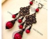 Long Deep Red Chandelier Earrings