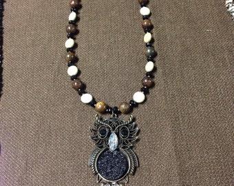 Druzy owl necklace