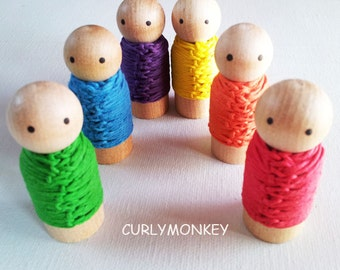 6 Wooden Peg Dolls - Waldorf Educational Play - Wood peg people - Hemp Rainbow.