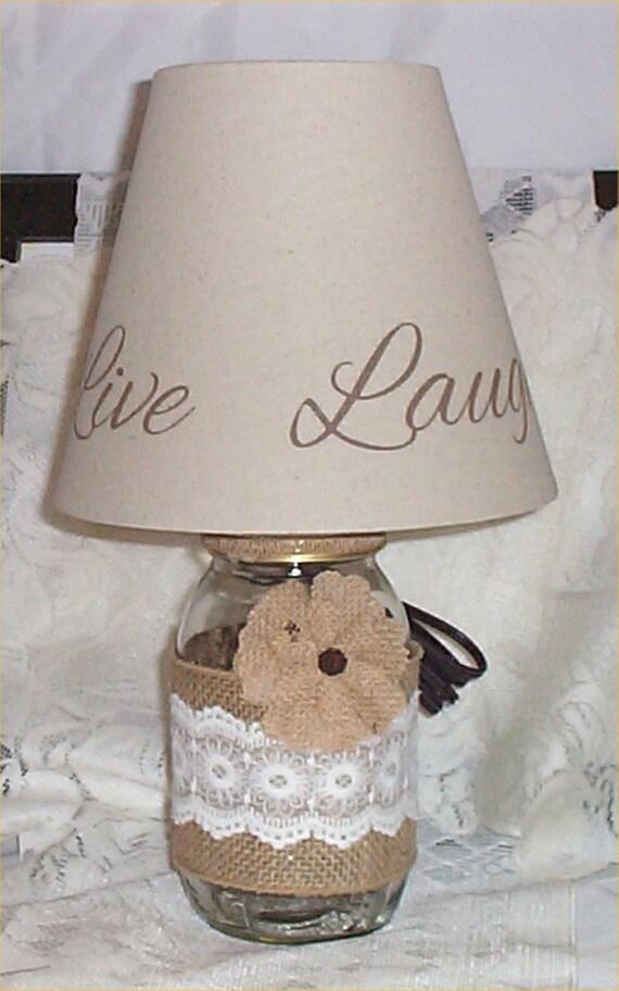 mason jar lamp country farm chic burlap ribbon lamp shade say live. Black Bedroom Furniture Sets. Home Design Ideas