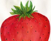 Strawberry  Top Watercolor Painting  original ART, 5 x 7 , Fruit painting,  Strawberry watercolors paintings original