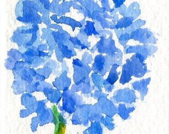 ACEO Blue Hydrangea Watercolor Painting Original, Flower Art Card, small watercolor painting of blue hydrangea