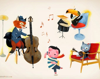 The 18 Karats Jazz Jam - First Edition- Repainted Giclee