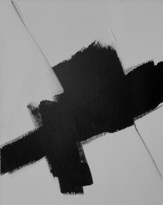 Number 401 Black And White Abstract Art Acrylic On Paper