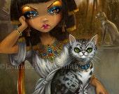 Sanura egyptian art print by Jasmine Becket-Griffith 8x10 egypt cat princess girl