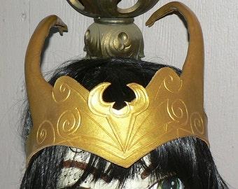 Loki style headpiece, gold leather headband by Faerywhere