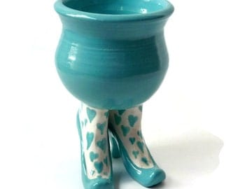 Ceramic SexPot with High Heel and Heart Stockings - Turquoise