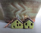 House Earrings, Copper Earrings, Stoneware Earrings, Stoneware Houses, Clay Earrings, Olive Green, Green Houses