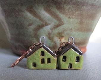 House Earrings, Copper Earrings, Stoneware Earrings, Stoneware Houses, Clay Earrings, Olive Green, Green Houses
