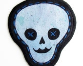 SALE Half Price  FREE SHIPPING - Hand Painted Fabric Patch -Light Blue Skull with teal spatter-