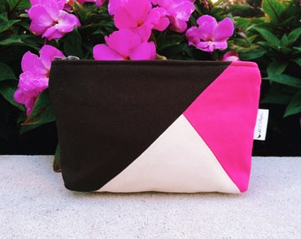 Brown Color Block Canvas Cosmetic Makeup Bag, Zipper Pouch, Makeup Case, Cosmetic Case, Toiletry Bag, Makeup Toiletry Pouch, 144 Collection