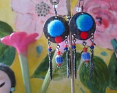 Pom Pom Earrings, Dangle Earrings, Red, Blue, Metal Feathers, Boho Earrings