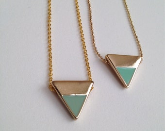 Gold + Mint Triangle Necklace
