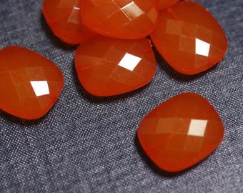 2for1 CLEARANCE - 24x20mm Small Translucent Faceted Acrylic Flat Pillow Beads - Persimmon Orange - Faceted Square Beads, Faceted Pillow Bead