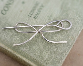Bow Tie Sterling Silver Shawl Pin, Scarf Pin, Sweater Clip Brooch, Fastener, Closure, Hair Pin, Bowtie Hair Barrette, Knitting Accessory