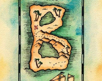 "READY-TO-SHIP Letter B Treasure Map / 5"" x 7"" Original Watercolor Pirate Map of Initial-Shaped Island / Alphabet Letter B / Initial Letter B"