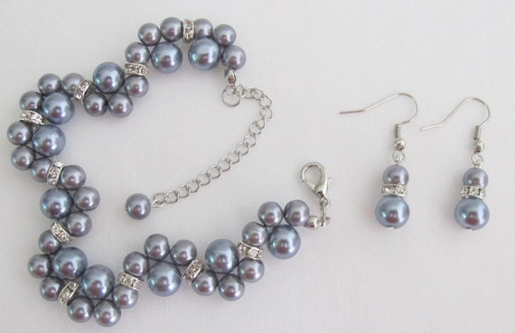 Gray Pearl  Bracelet Silver Rhinestones Spacer Lobster Clasp Extension Free Shipping In USA