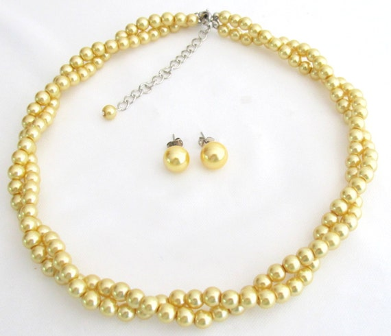Yellow Pearl Necklace Sunshine Yellow Pearl Necklace Stud Earrings Yellow Pearl twisted Necklace Wedding Bridal Jewelry Free Shipping In USA