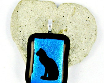Fused Glass Jewelry / Black Kitty Cat / Blue Dichroic Pendant