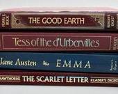 4 Classic Vintage Books - Tess of the d'Urbervilles / Emma / The Good Earth / The Scarlett Letter / Instant Library Collection