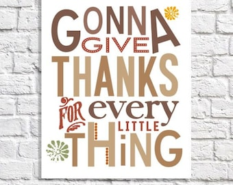 Give Thanks Print Holiday Art Autumn Colors Thanksgiving Decor Gratitude Sign Fall Wall Quote Seasonal Dining Room Idea Small Saying Poster